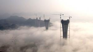 Grúas torre Potain  completan el Gran Puente Chishi en China