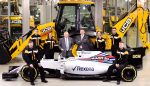 Pictured is JCB Chairman Lord Bamford pictured with JCB apprentices (l-r) Kyle Hare , Charlie Trotter, Jade Holmes, Chelsea Saunders, James Mohan and Daniel Malbon at the announcement of the new partnership agreement between JCB and Williams Martini Racing  Date. 22.02.17