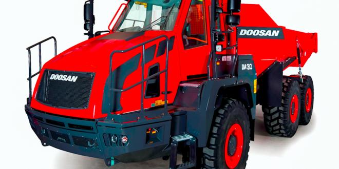 Nueva versión del dúmper articulado DA30 de Doosan en Intermat 2018