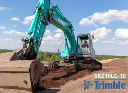 Kobelco ofrecerá la plataforma Trimble® Earthworks Grade Control para la excavadora SK210LC-10